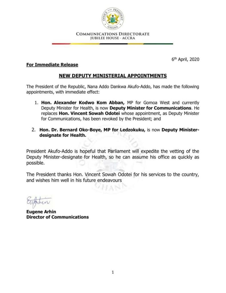 Sowah Odotei axed as Okoe-Boye is Deputy Health Minister-designate